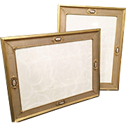"""PAIR"" Vintage Picture Brass Frames with Enamel Rose Plaques ~ Table Top Frames ~  Easel Backs that Stand Properly &  Ready for Your  8 ½"" x 11 ½"" Pictures"