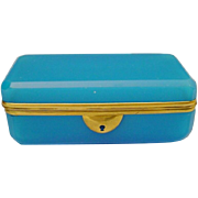 "Antique 6"" French Blue Opaline Casket Hinged Box ~ Fabulous Blue Opaline  & Beautiful  Gilt Mounts"