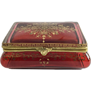 Big Gorgeous Red Casket Hinged Box  ~  Outstanding Gilding and Pretty Fancy Gilt Mounts ~