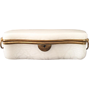 "Magnificent 11 ½"" Antique White Opaline Casket Hinged Box ~  Big Bronze Heavy Ring Double Handles  & Smooth Mounts ~ A BEAUTY from My Trea"