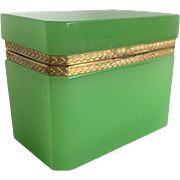 Antique French Green Opaline Hinged Box ~  Ornate Gilt Mounts and Magnificent Green Opaline ~ A BEAUTY from My Treasure Vault ~