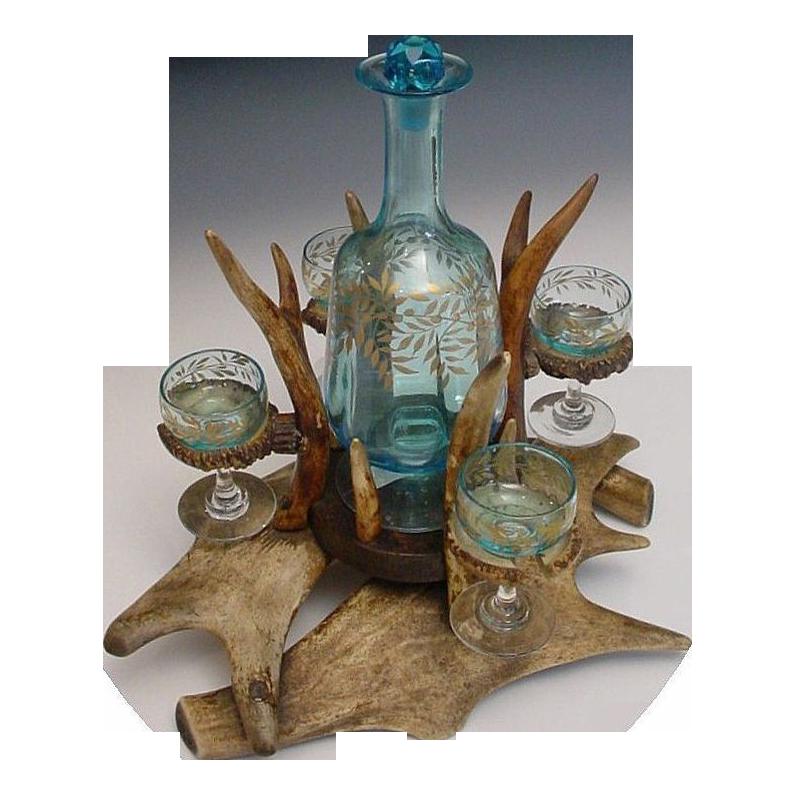 """Magnificent Antique Antler Liquor  Set """"FAB Blue Glass"""""""