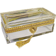 "Antique French Crystal Hinged Box ""BIG & BEAUTIFUL"""