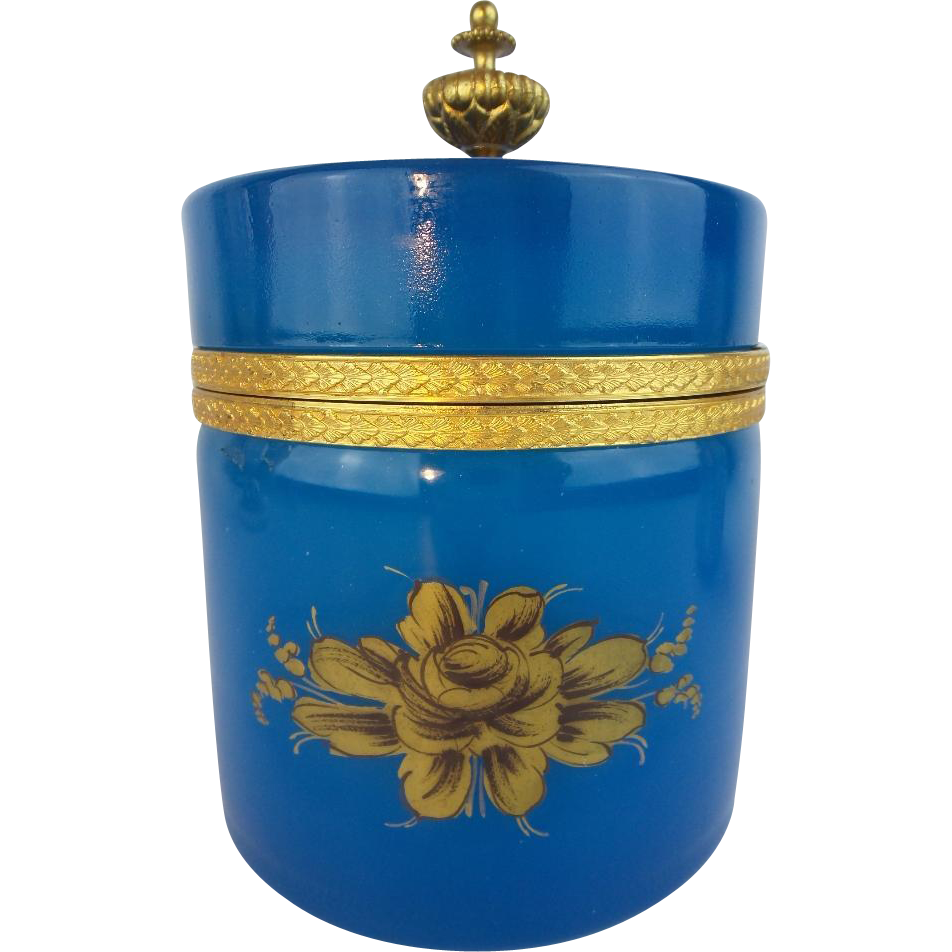 "Antique Blue Opaline Hinged Box ""BIG & BEAUTIFUL"""