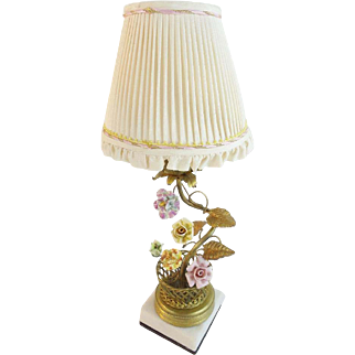 """Antique French """"Porcelain Flowers"""" Lamp in  GILT WIRE  BASKET"""