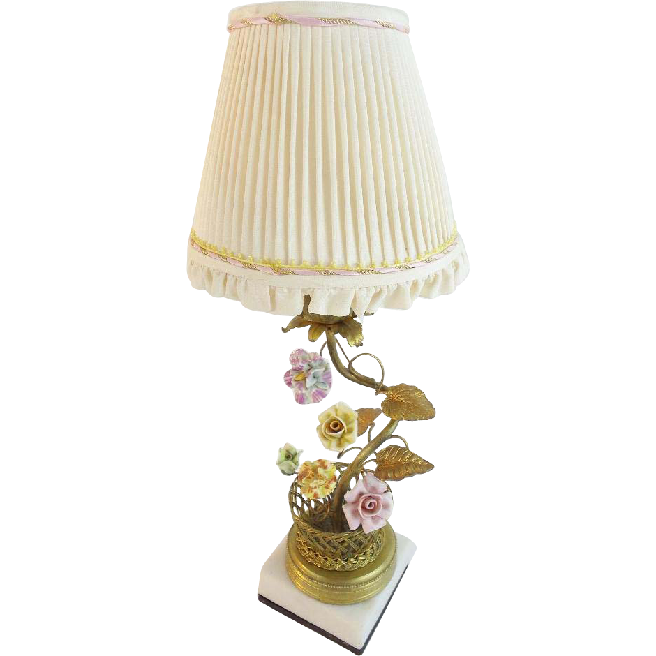 "Antique French ""Porcelain Flowers"" Lamp in  GILT WIRE  BASKET"