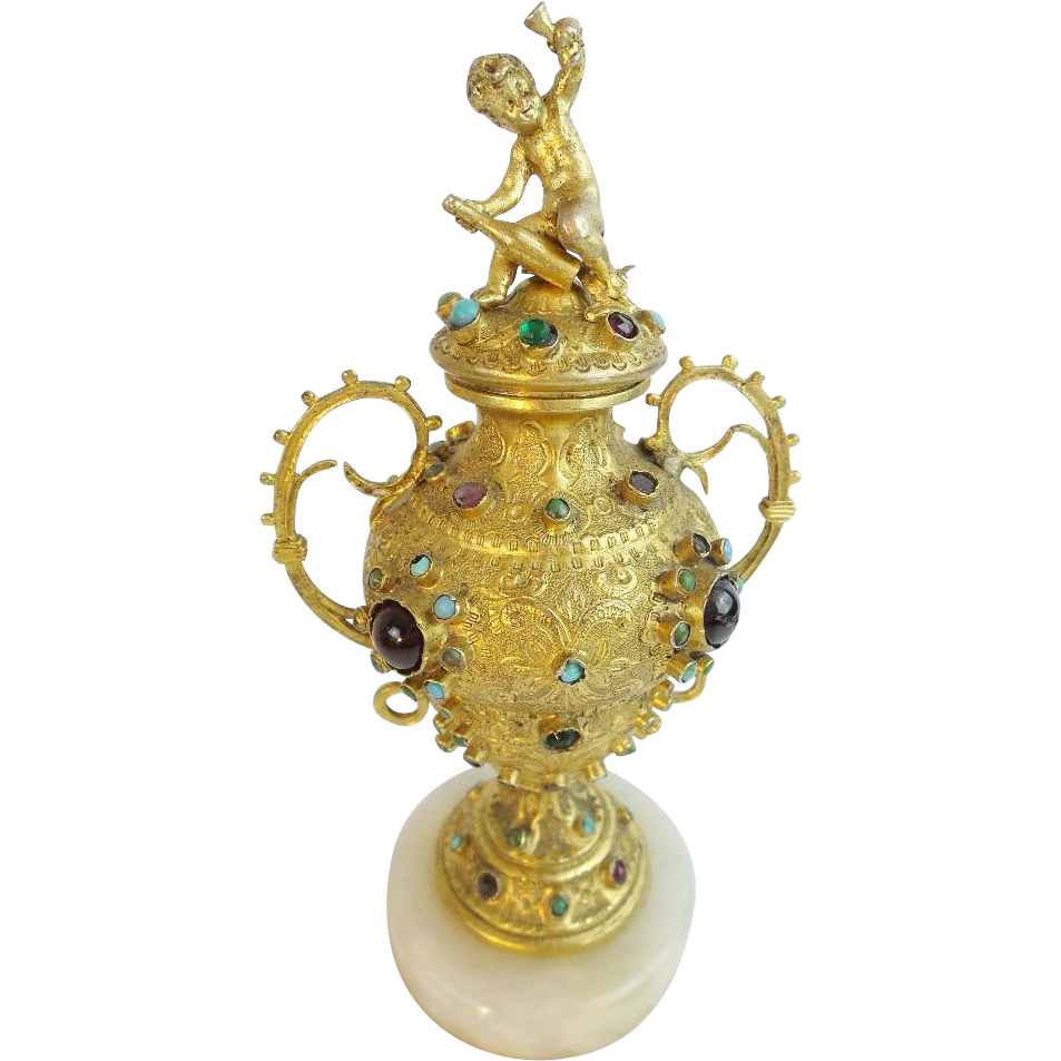 Antique French Jeweled Cover Urn…WOW! This is a BEAUTY!