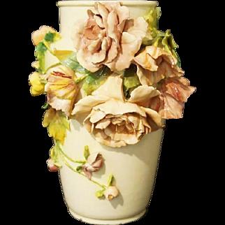"""Antique  French Longchamp Majolica Flower Vase  """"MASSIVE 16 ½"""" Vase W Applied Flowers"""""""