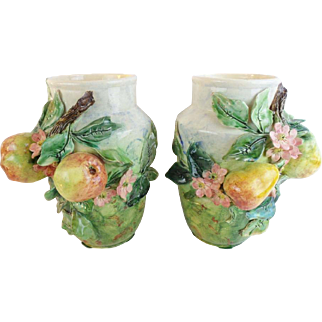 "PAIR Antique French Longchamp Majolica Flower Fruit Vases ""MAGNIFICENT"""