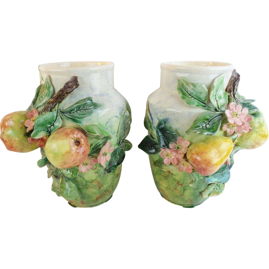 "PAIR Antique French Longchamp Majolica Flower Fruit Vases ""MAGNIFICENT"""