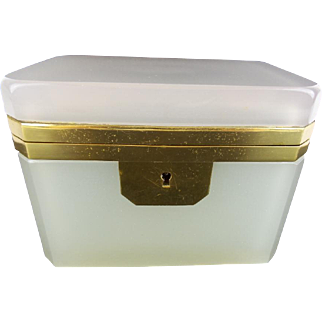 "Antique French Creamy White  Opaline Casket Hinged Box ""MAGNIFICENT"""