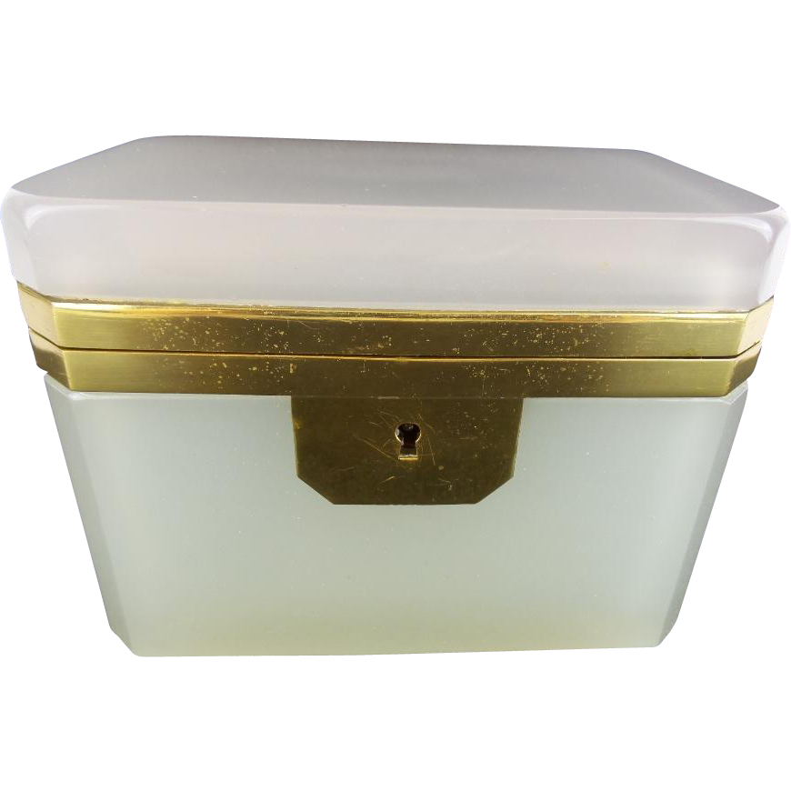 """Antique French Creamy White  Opaline Casket Hinged Box """"MAGNIFICENT"""""""