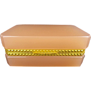 """Antique French  Opaline Casket Hinged Box """"YUMMY PEACHY PINK"""""""