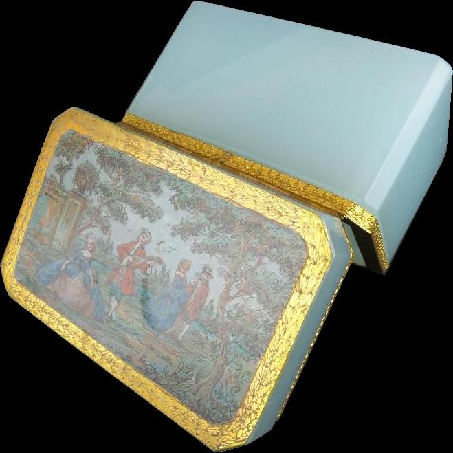 "Antique Blue Opaline Casket Hinged Box ""SEAFOAM  AQUA COLOR"""