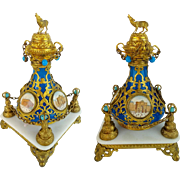 "Grand Tour Jeweled Blue Opaline Scent Bottle "" FOUR MINIATURES""  Dripping in Jeweled Ormolu Chains"