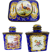 Antique French Enamel Tea Caddy …Birds, Flowers, Trees and Exquisite Gilding