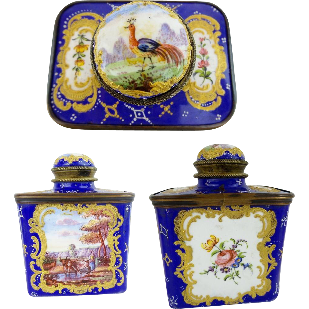 LAYAWAY Antique French Enamel Tea Caddy …Birds, Flowers, Trees and Exquisite Gilding
