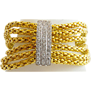 "7"" Italian 18kARAT Diamond Rope Mesh Bangle Style Bracelet "" Sapphire Clasp"""