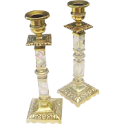 "Antique French 10"" Marble Bronze Three Light Candelabra Pair"