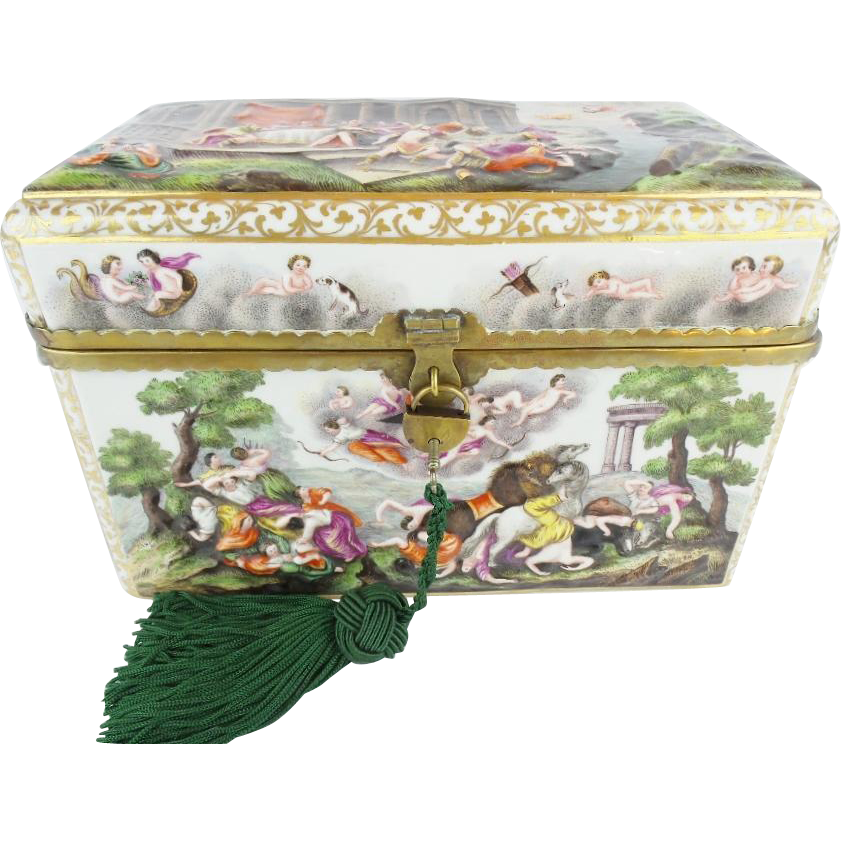 "9 ½"" Antique Capodimonte Casket Hinged Box ""THE BEST! "" Putti, Dogs, Horses, Boar"