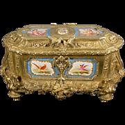 """15"""" Grandest Antique Bronze Casket Porcelain Plaques 'MAJESTIC SIZE"""""""