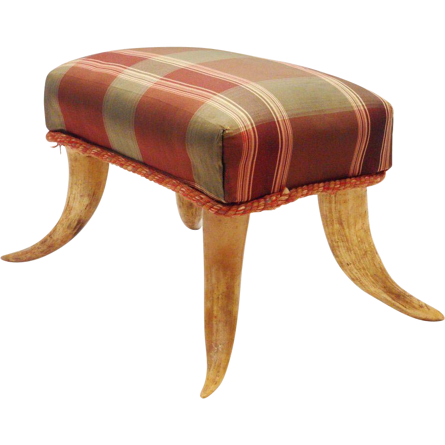 "Antique Foot Stool with Horn Legs "" G R A N D E S T "" Lovely Silk Fabric"