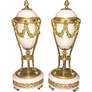 "Antique French Marble and Bronze Urns  ""MAGNIFICENT"""