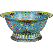 "19C  15 "" Chinese Cloisonné Footed Bowl ""MAGNIFICENT"""
