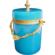 """Antique French Blue Opaline Covered Box """"BEAUTIFUL ORMOLU & FINIAL"""""""
