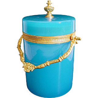 "Antique French Blue Opaline Covered Box ""BEAUTIFUL ORMOLU & FINIAL"""
