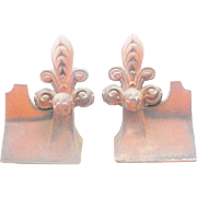 "RARE Antique French Fleur de lis Roof Tiles  ""PAIR"""