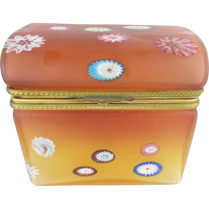 "Vintage Murano Millefiori Dome Top Hinged Box ""RARE"""
