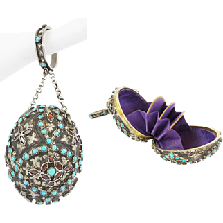 """Antique Jeweled Silver Hungarian Purse Chatelaine """"Turquoise and Garnets"""""""