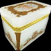 "Antique French Opaline Casket Hinged Box "" PUTTI & PRETTY GILDING"""