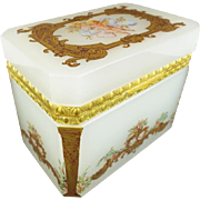 "Antique French Opaline Casket Hinged Box "" PUTTI & PRETTY GILDING"""