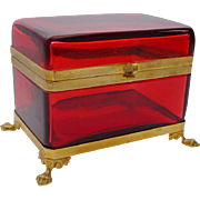 "Antique French Red Casket Hinged Box "" Paw Feet"" BIG & BEAUTIFUL"