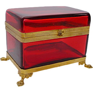 """Antique French Red Casket Hinged Box """" Paw Feet"""" BIG & BEAUTIFUL"""