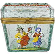 """Antique Bohemian """"Controlled Bubbles"""" Hinged Box"""