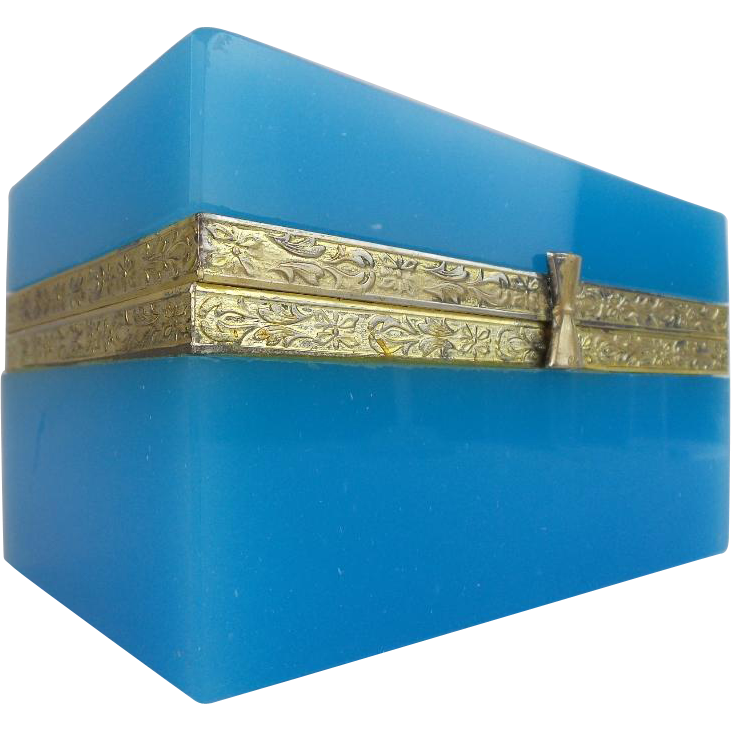 "Antique Blue Opaline Casket Hinged Box ""Engraved Mounts"""