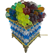 Czechoslovakia Glass Fruit Square Double Handle Basket Lamp 'AWESOME COLORS""