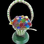 """Czech Glass FLOWER Basket Lamp """" RARE"""""""