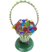 "Czech Glass FLOWER Basket Lamp "" RARE"""