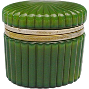 Antique Green Glass Casket Hinged Box ' OVAL & RIBBED""