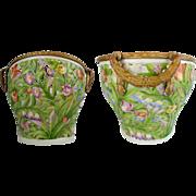 """1907 German Von Schierholz Porcelain Reticulated Basket Cachepot """"EXQUISITE GILT BRONZE"""""""