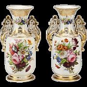 """Antique French Porcelain Vase """"GRANDEST Hand-painted Porcelain """""""
