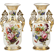 "Antique French Porcelain Vase ""GRANDEST Hand-painted Porcelain """