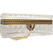 """Antique French Cut Crystal Glove Casket Hinged Box """"EXQUISITE CUT"""""""