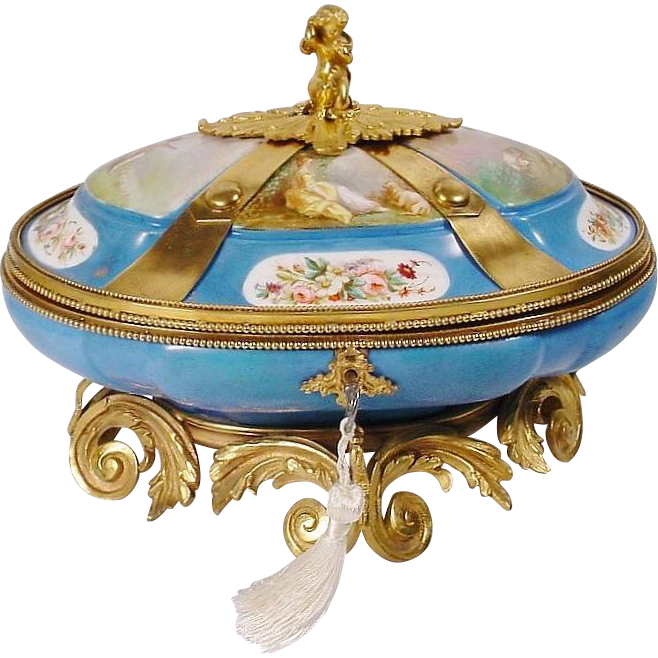 """Glorious  12"""" Antique Sevres Style Porcelain Casket """"MASTERPIECE"""""""