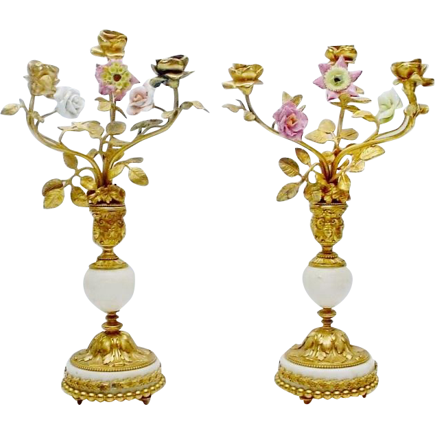 "14"" Antique French Bronze Marble Candelabras PAIR ""Porcelain Flower & Bronze Leaves"""
