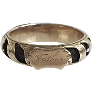 """18KARAT Victorian Mourning Hair Ring Engraved """"FATHER""""  ~ 12 Sections w  Woven Hair"""